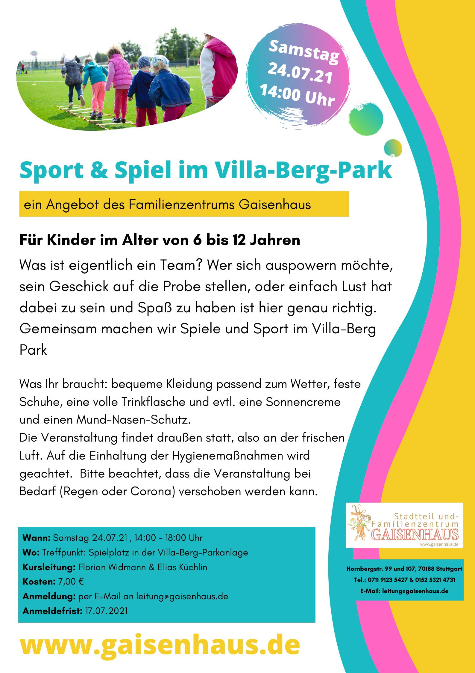 Sport u. Spiele im Park 24.7.21 Gaisenhaus